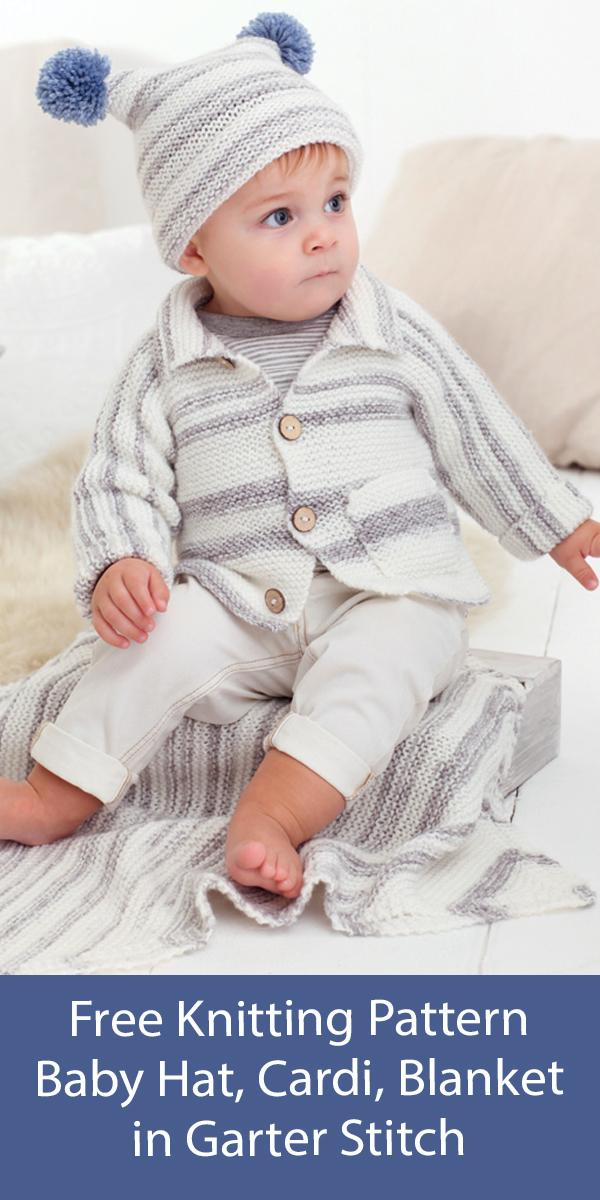 Free Baby Set Knitting Pattern Baby Cardigan, Hat and Blanket Garter Stitch