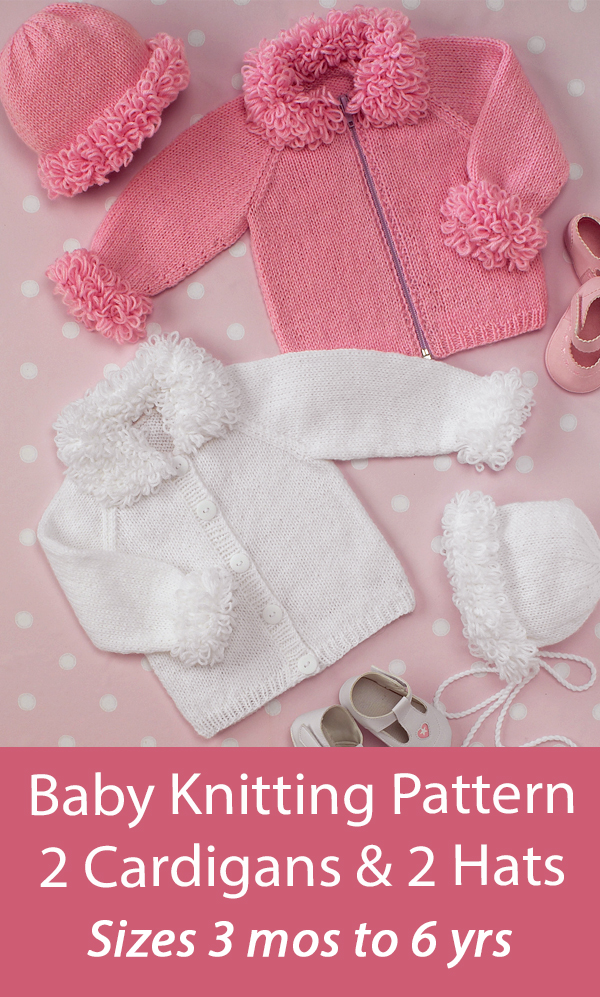 Free Baby Knitting Pattern Cardigans, Hat and Bonnet
