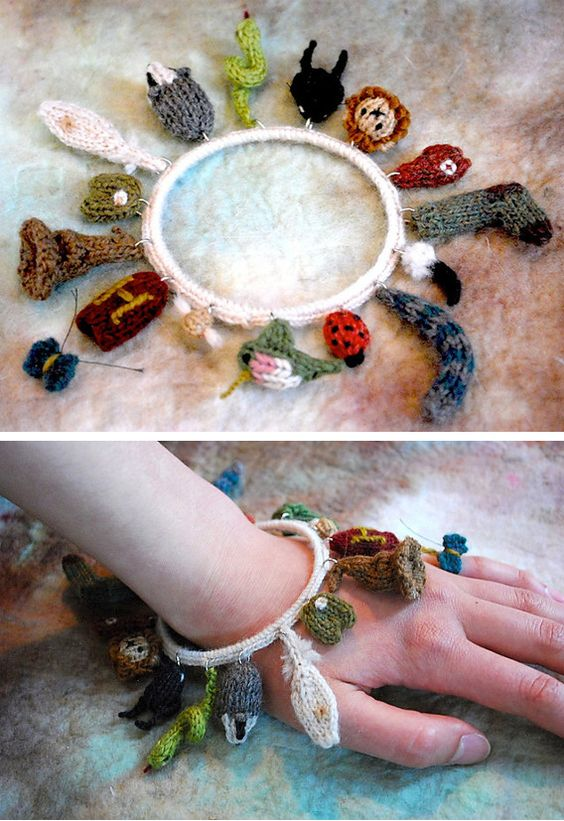 Knitting Pattern for Care of Magical Beasts Charm Bracelet