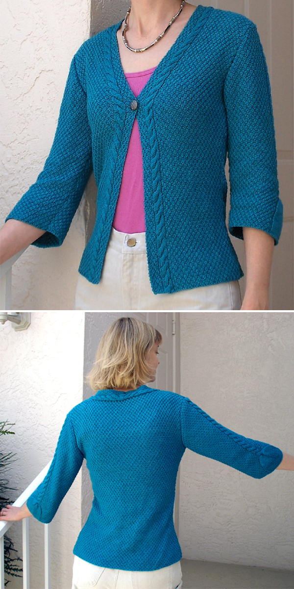 Free Knitting Pattern for Cari Cable Trimmed Cardi