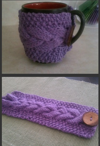 Cable Cup Cosy Free Knitting Pattern and more cosy knitting patterns