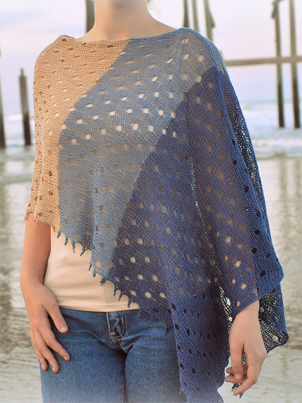 Free Knitting Pattern for Carolina Beach Poncho