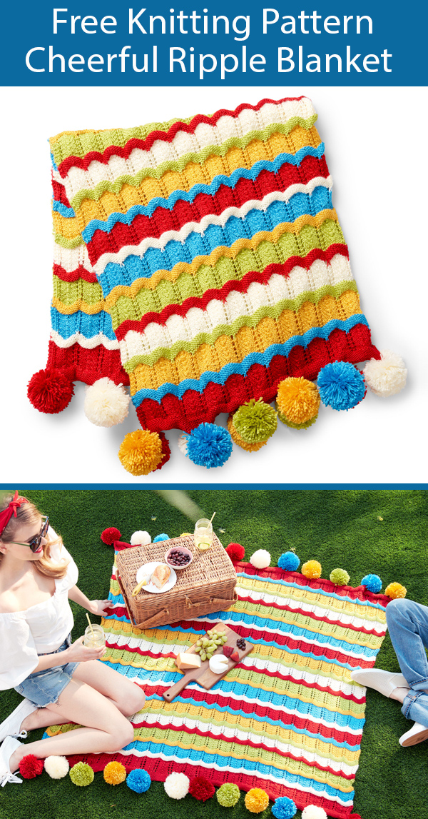Free Knitting Pattern for Cheerful Ripple Blanket