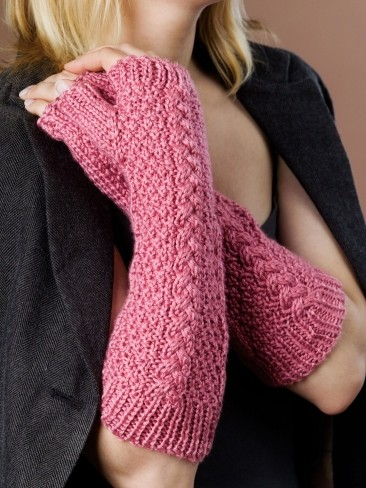 Free Knitting Pattern for Caron Cable Fingerless Gloves