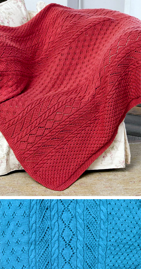 Free Knitting Pattern for 16 Row Repeat Lace Panel Throw