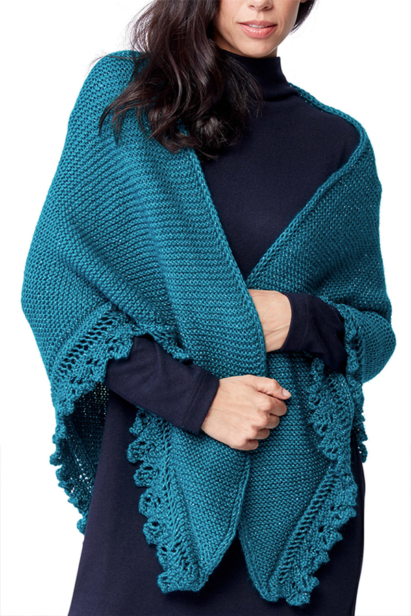 Free Knitting Pattern for Lacy Edged Shawl