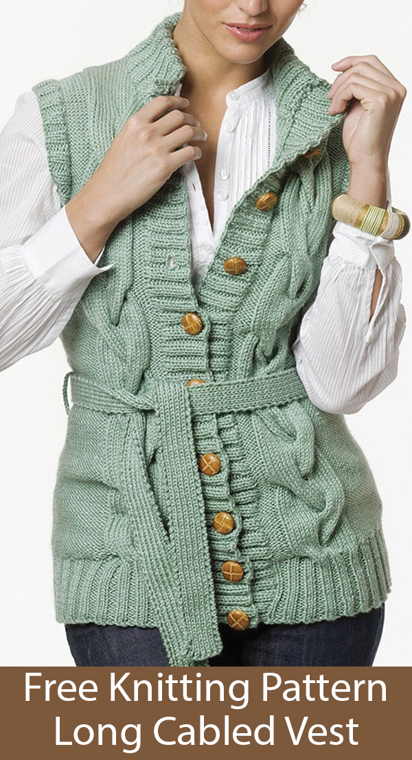 Free Knitting Pattern for Long Cabled Vest Sizes S to 2X