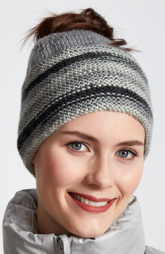 Free Knitting Pattern for Ombre Messy Bun Hat