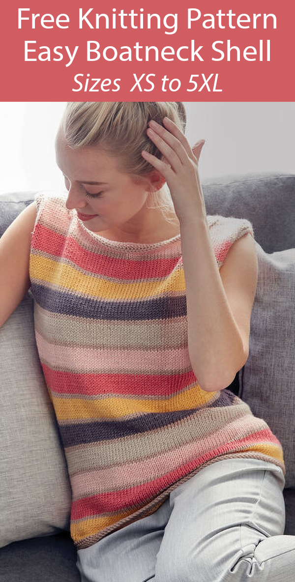 Free Knitting Pattern for Easy Boat Neck Shell Top Stashbuster