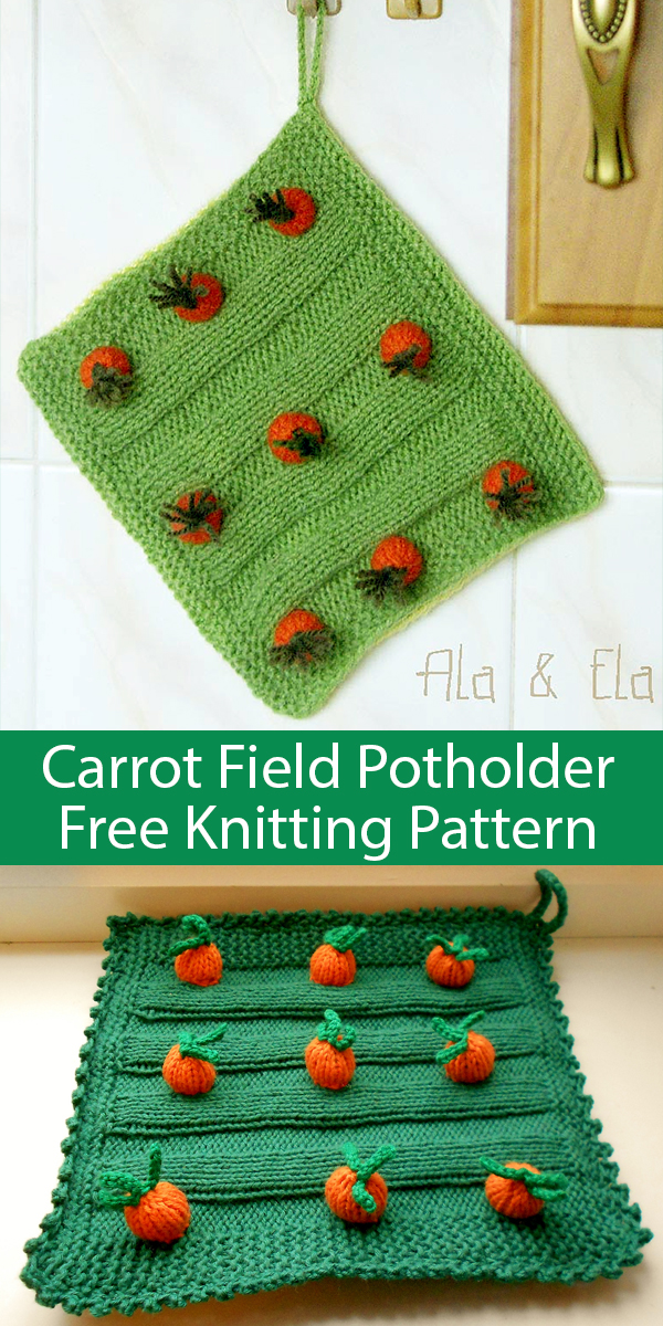 Free Knitting Pattern for Carrot Field Potholder