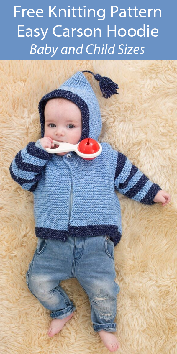 Free Knitting Pattern for Easy Carson Hoodie Baby and Child Cardigan Sweater