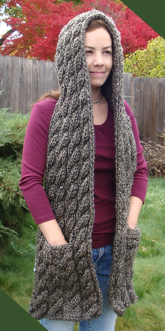 Free Knitting Pattern for Cascading Cables Hooded Scarf
