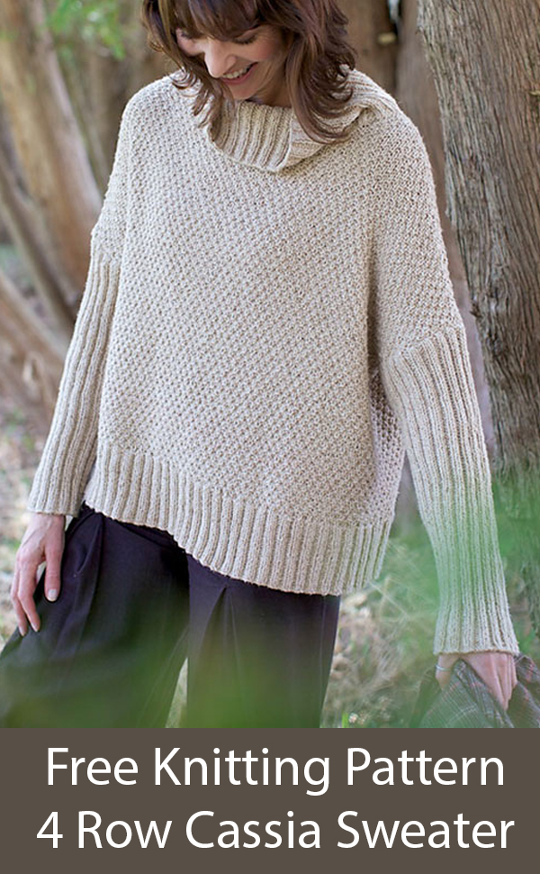 Free Knitting Pattern for 4 Row Repeat Cassia Sweater