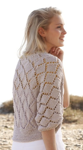 Free knitting pattern for Cassie Shrug with diamond lace