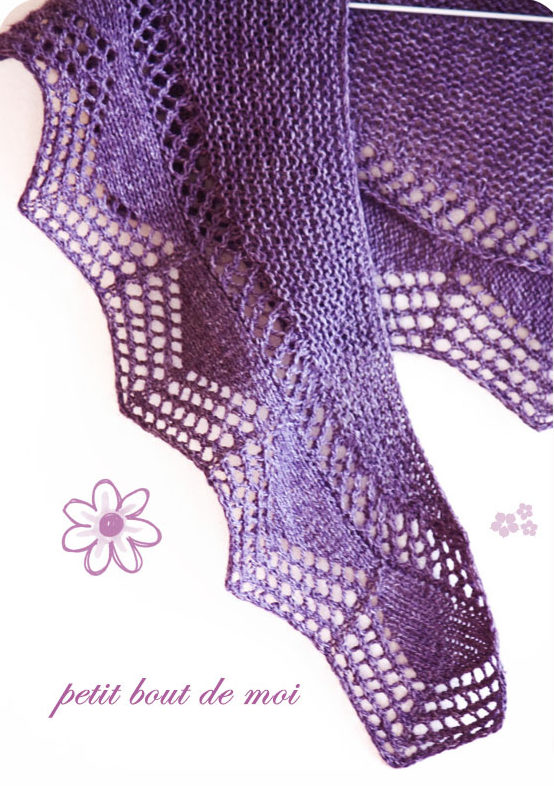 Free Knitting Pattern for One Skein Cassis Shawlette