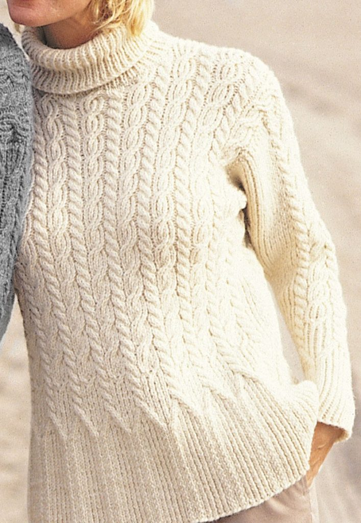 Free Knitting Pattern for Casual Cables Sweater