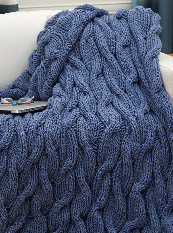 5efb25c1d Free Knitting Pattern for Easy Quick Casual Cables Throw