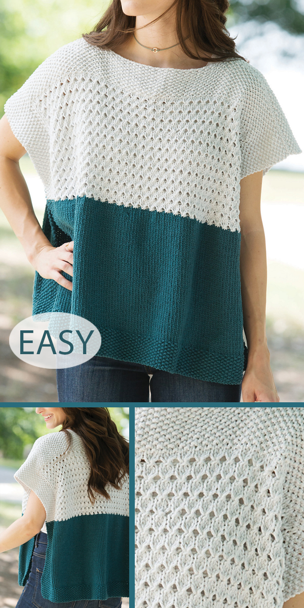 Knitting Pattern for Easy Poncho Top