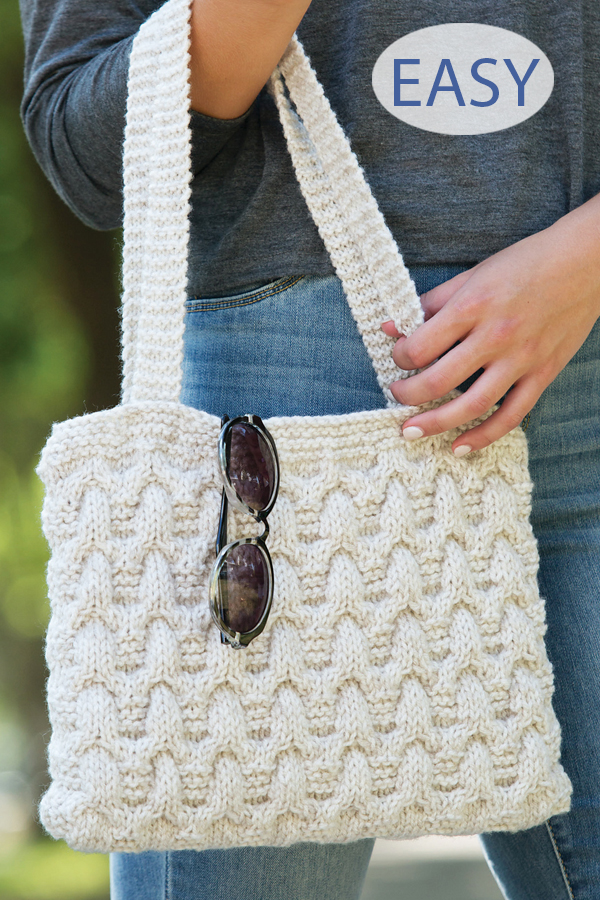 Knitting Pattern for Easy Cable Purse