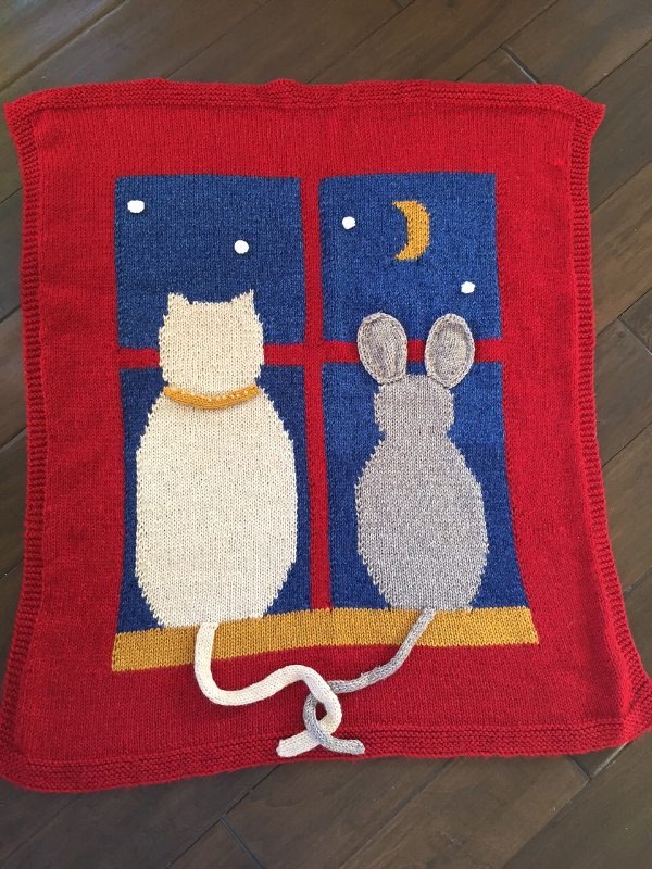 Free Knitting Pattern for Cat And Mouse Blanket