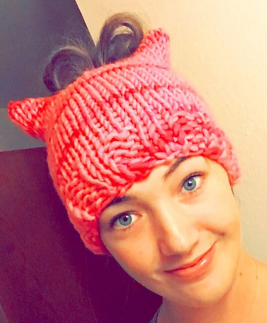 Free Knitting Pattern for Cat Ear Messy Bun Hat