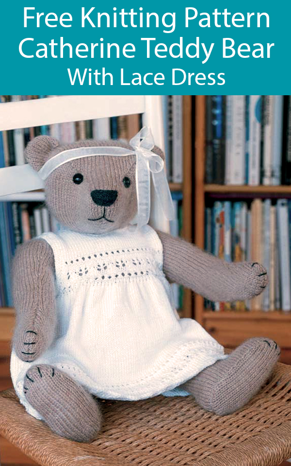 Free Knitting Pattern for Catherine Teddy Bear With Dress