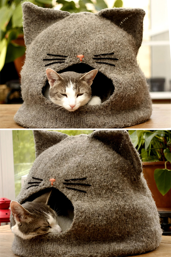 Knitting Pattern for Cat Cave