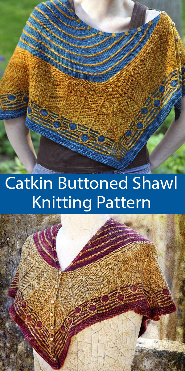 Knitting Pattern for Catkin Buttoned Shawl