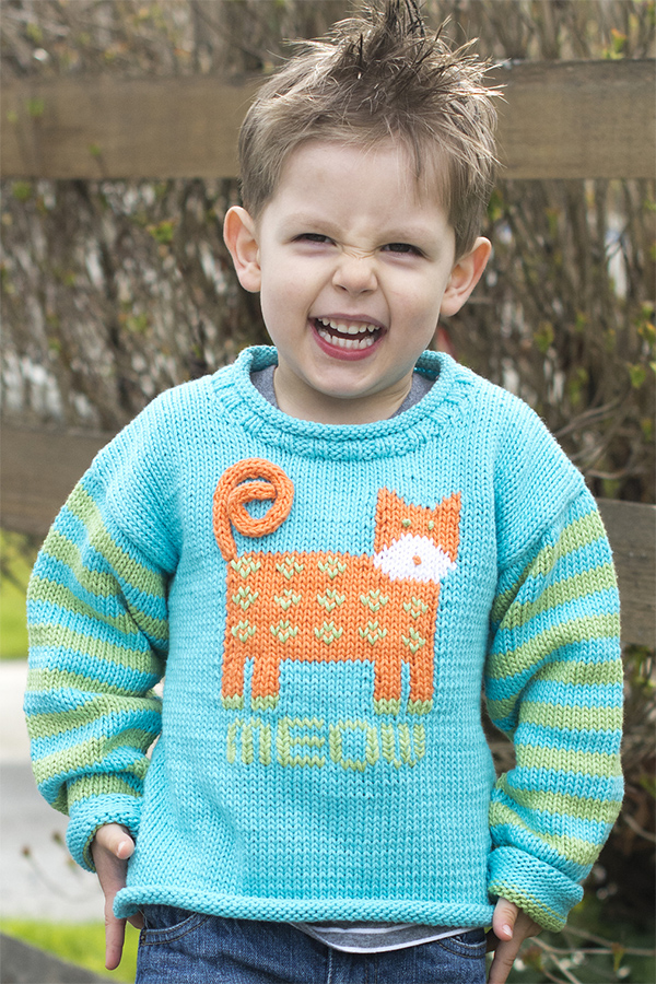 Free Knitting Pattern for Cat's Meow Pullover