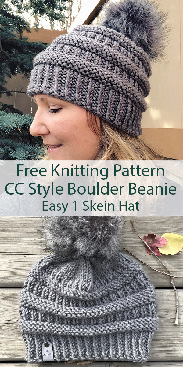 Free Knitting Pattern for Easy CC Style Boulder Beanie Hat in One Skein