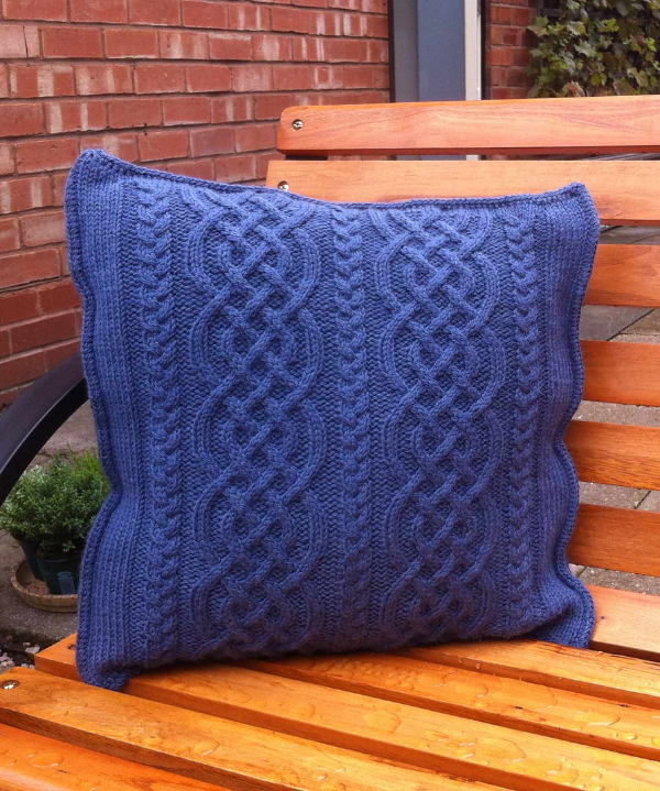 Free Knitting Pattern for Celtic Knit Aran Pillow