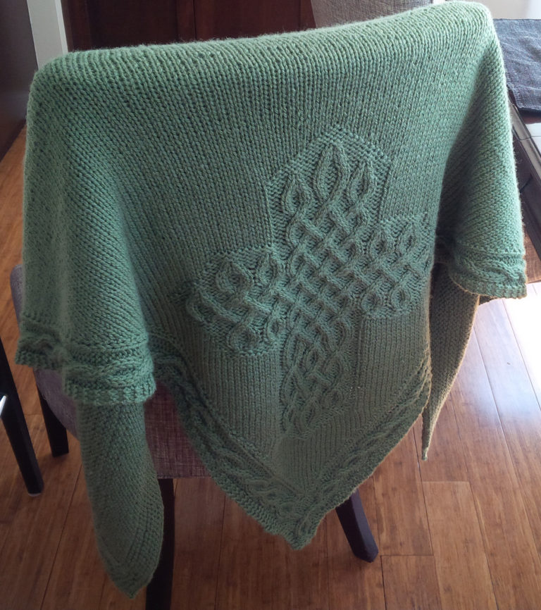 Free Knitting Pattern for Celtic Cross Shawl