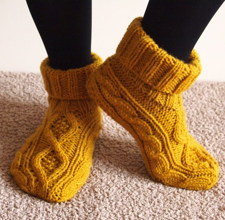 Free Knitting Pattern for Celtic Dancer Slippers