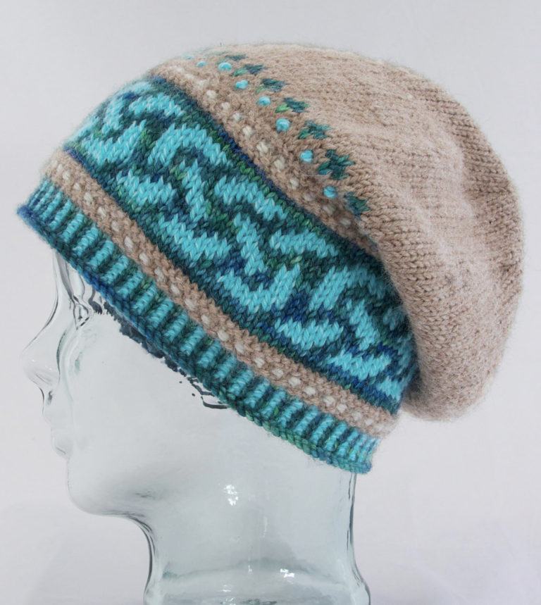 Knitting Pattern for Celtic Double Knot Slouch Hat