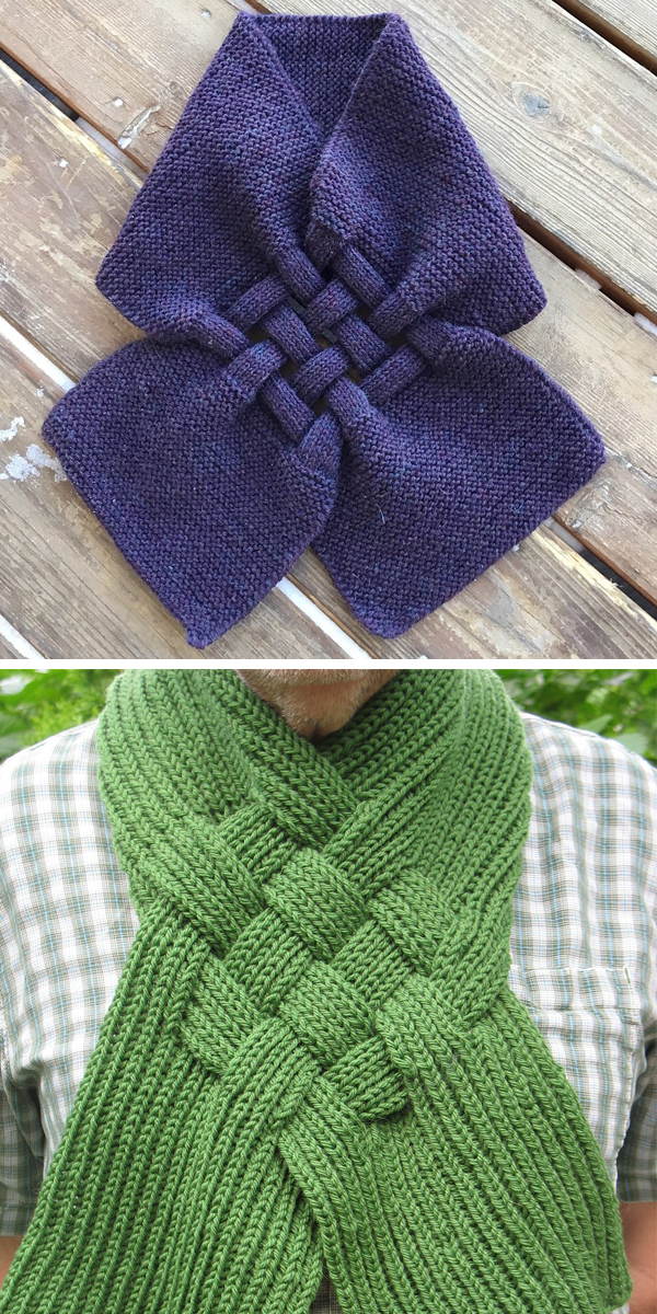 Free Knitting Pattern for Celtic Knot Looped Scarf
