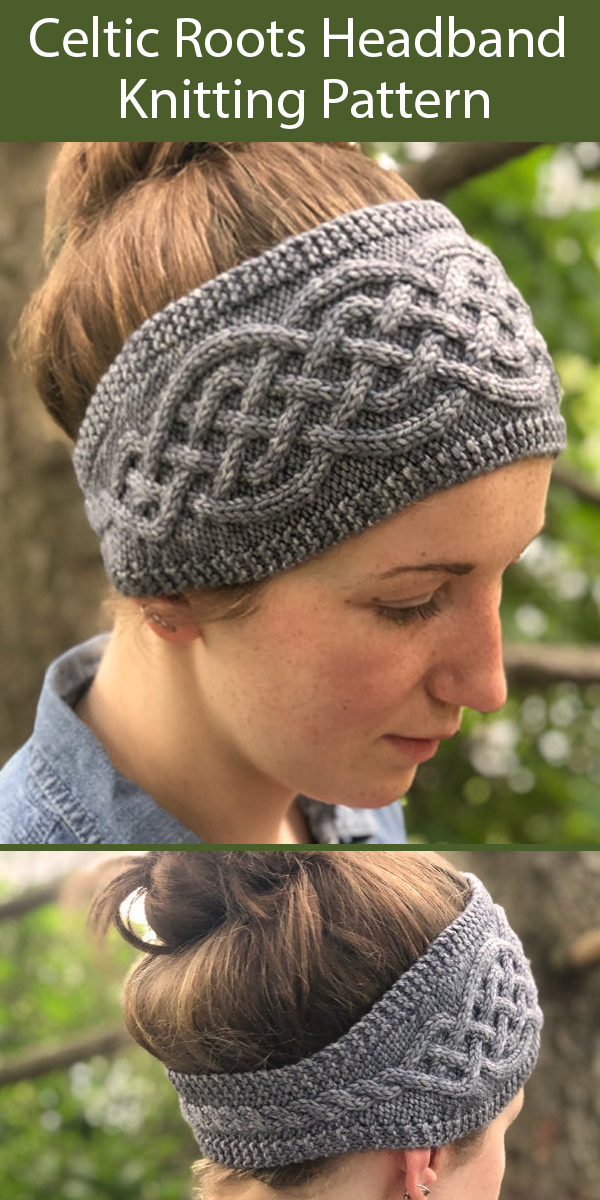 Knitting Pattern for Celtic Roots Headband