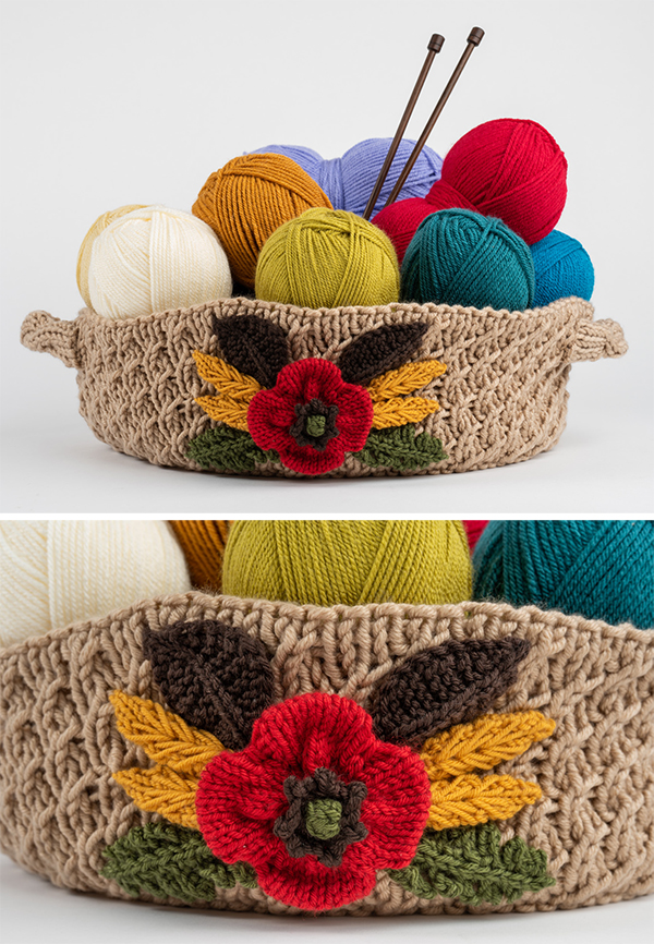 Free Knitting Pattern for Ceres Decorated Basket