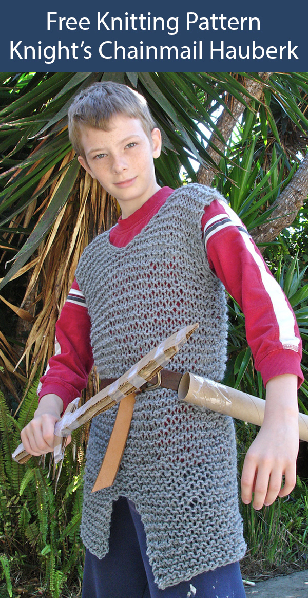 Free Knitting Pattern for Chainmail Hauberk for a Young Knight