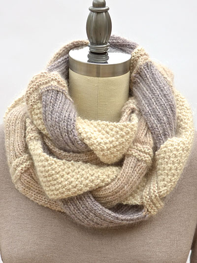 Knitting Pattern for Challah Infinity Scarf