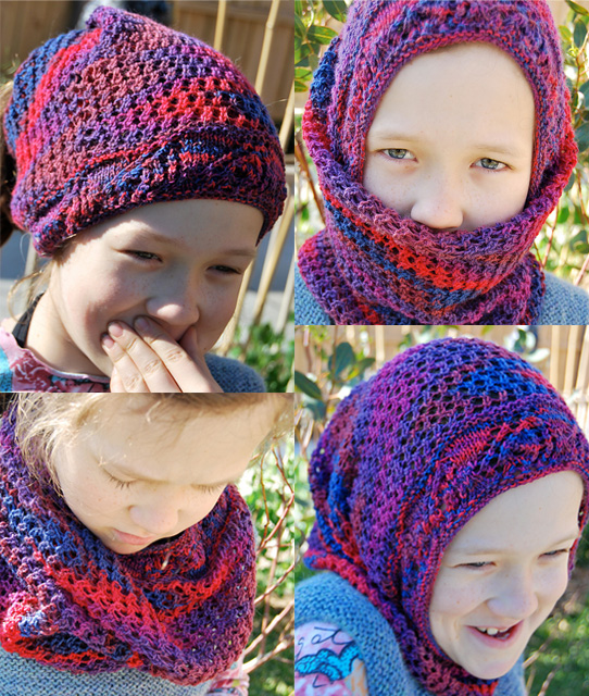 Free knitting pattern for Chameleon convertible hat headband cowl balaclava hood