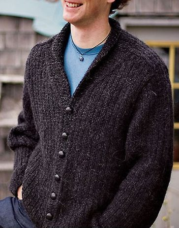 Knitting Pattern for Men's Shawl Collar Cardigan