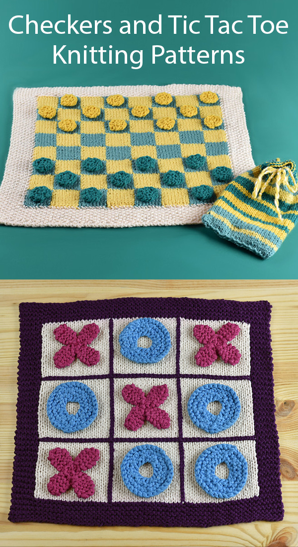 Knitting Pattern for Checkers and Tic Tac Toe Games