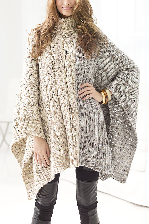 Free Knitting Pattern for Chatsworth Cable Poncho