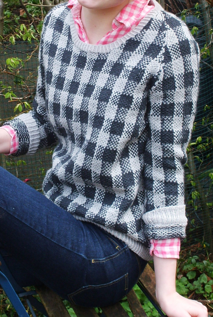 Free Knitting Pattern for Checks and Balances Sweater