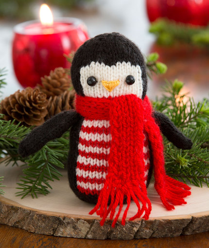 Free knitting pattern for Cheerful Holiday Penguin softie toy