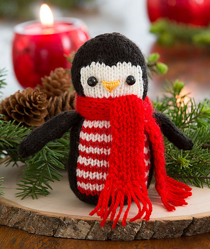 Free Knitting Pattern for Cheerful Holiday Penguin Toy