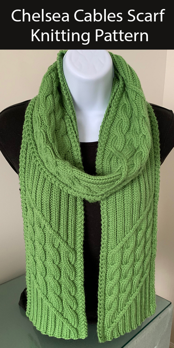 Scarf Knitting Pattern for Chelsea Cables & Ribbing Scarf