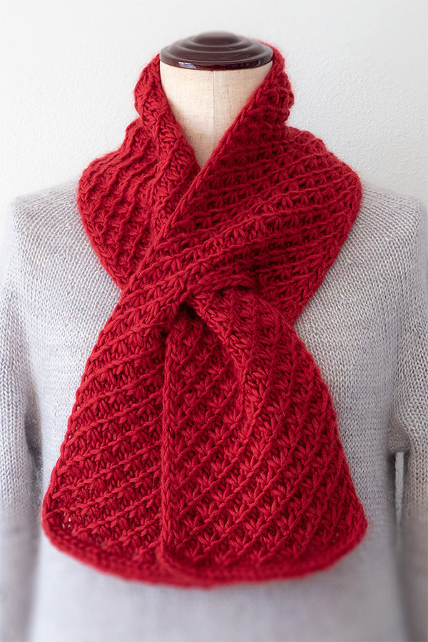 Free Knitting Pattern for Cherry Pie Scarf