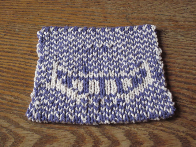Cheshire Cat potholder free knitting pattern -back