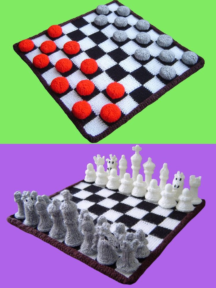 Free knitting pattern for Chess and Checkers